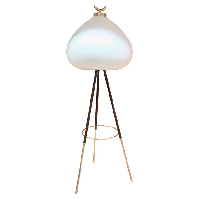 Tripod Floor Lamp in Brass and Milk Glass, Italy, 1960s For Sale - Image 11 of 11