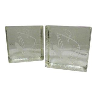 1960s Mid-Century Modern Scales of Justice Glass Bookends - a Pair For Sale