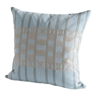 Handwoven Minna Pillow in Sky Blue With Ancient Nok Camel For Sale