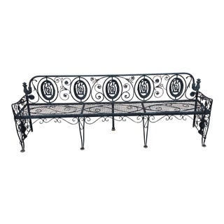 Monumental Edwardian Wrought Iron Bench