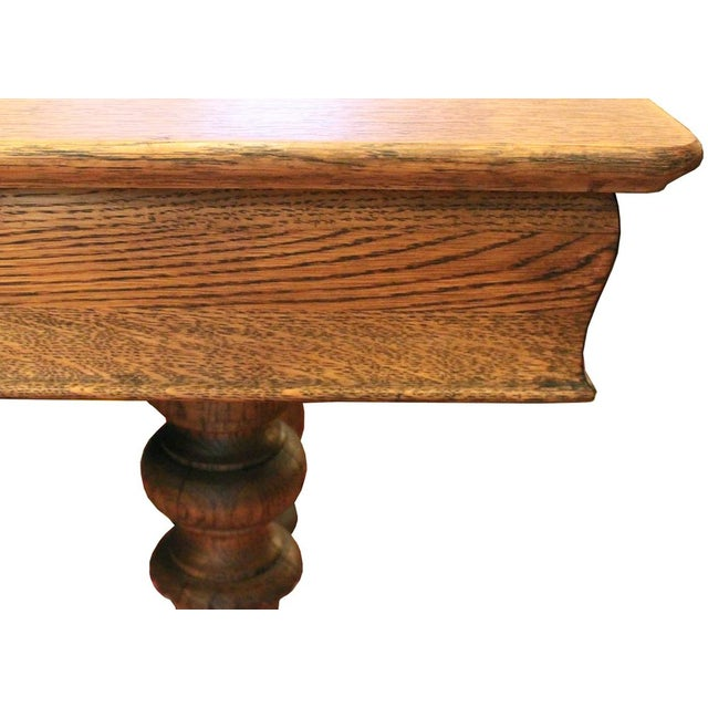 Oak Turned Leg Dining Table For Sale - Image 4 of 4