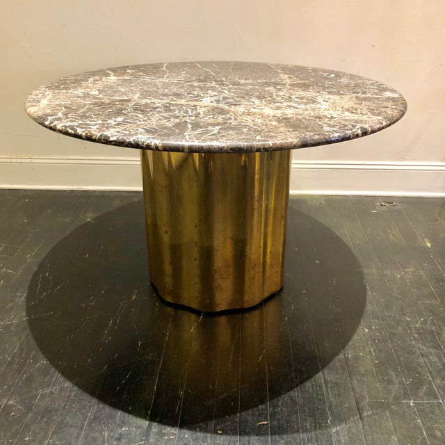 Italian Marble Table / Brass Base Table For Sale - Image 10 of 10