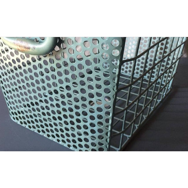 Blue Metal Perforated Industrial Style Basket - Image 7 of 8