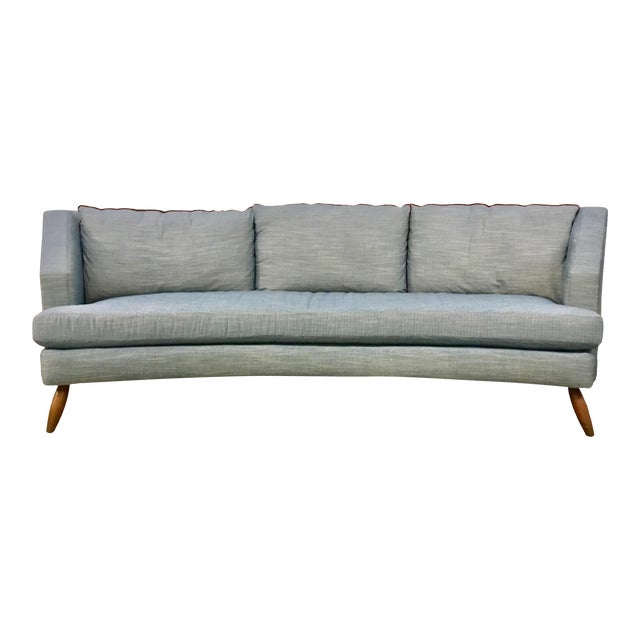 Pleasant Drexel Heritage Modern Light Blue Curved Sofa Pabps2019 Chair Design Images Pabps2019Com