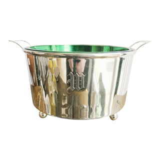 1920s Art Deco Cartier Sterling Silver & Glass Ice Bucket For Sale