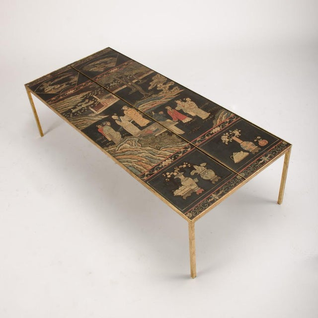 Mid-Century Modern Vintage Chinoiseries Top Coffee Table With Leather Trim For Sale - Image 3 of 11