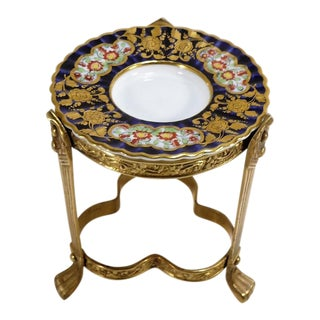 Spode China and Clawfoot Brass Pedestal Ring Dish/Candleholder For Sale
