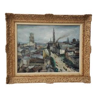 "Luigi Corbellini (1901-1968) ""European Cityscape"" Original Oil Painting C.1950s For Sale"