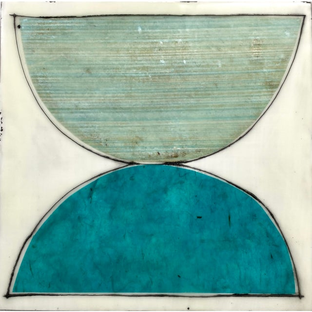 """""""Elsewhere"""" Original Encaustic Collage Installation by Gina Cochran - Blue and Teal - 16 Panels For Sale - Image 12 of 13"""