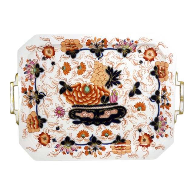 Antique Bone China Imari Style Serving Tray For Sale