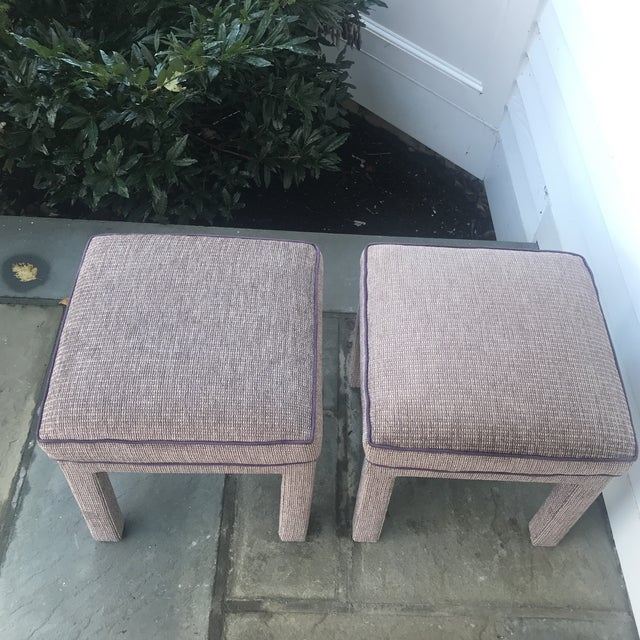 Pair of 1970s Upholstered Parsons Stools For Sale In New York - Image 6 of 8