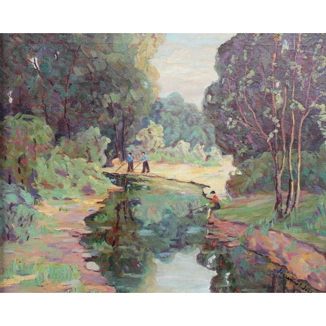 """Country """"Fishing on the River"""" Painting by Jessamine Johnson For Sale - Image 3 of 6"""