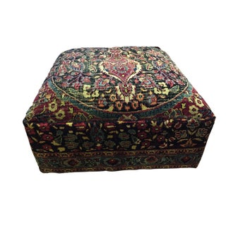 "Custom Made Oversized Antique Tribal Bakhtiari Ottoman /Table 32"" W by 18"" H For Sale"