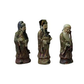 Chinese Color Mixed Ceramic SanXing ( 3 Deities ) Fu Lu Shou Figure Se