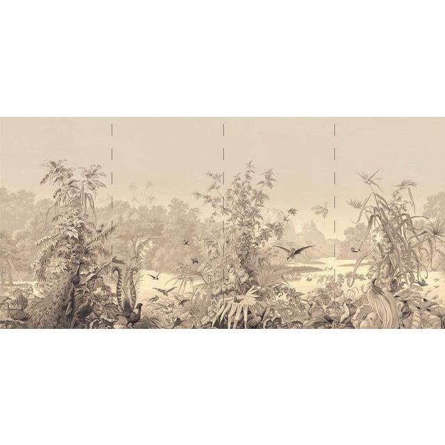 "Chinoiserie Casa Cosima Sepia Brasília Wallpaper Mural - 4 Panels 144"" W X 76"" H For Sale - Image 3 of 3"