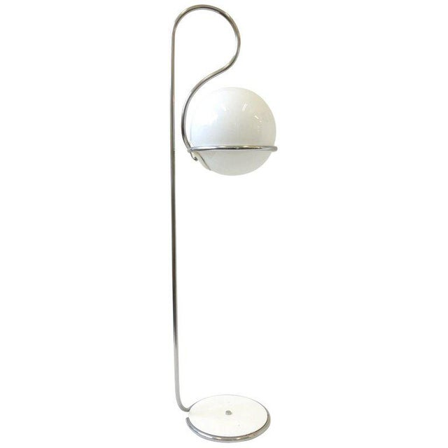 Silver 1970s Chrome and White Glass Globe Floor Lamp For Sale - Image 8 of 8