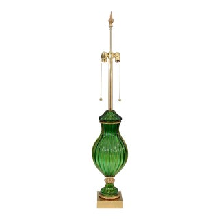Seguso for Marbro Murano Vintage Green Glass Lamp