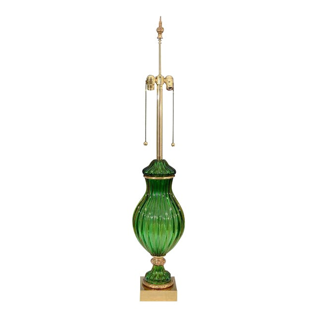 Seguso for Marbro Murano Vintage Green Glass Lamp For Sale