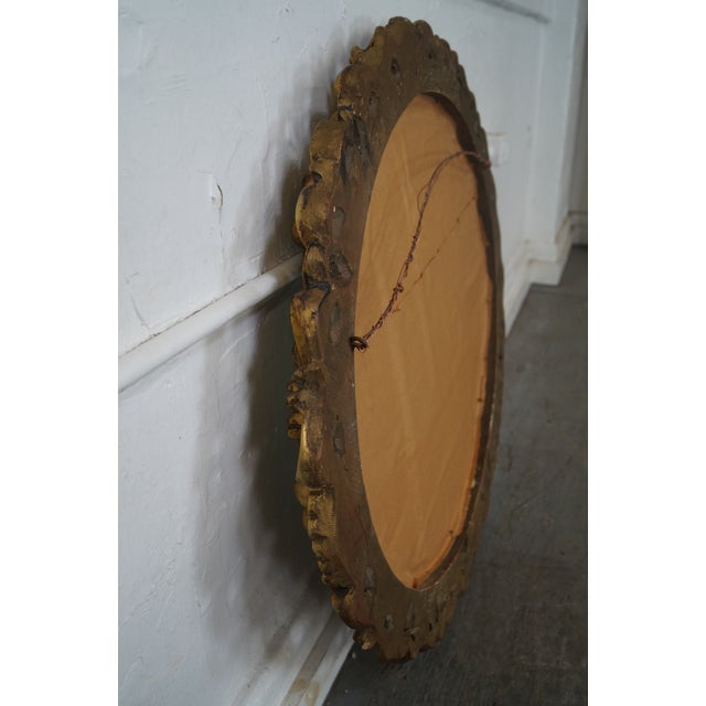 Antique Italian Rococo Style Giltwood Carved Oval Wall Mirror - Image 8 of 10