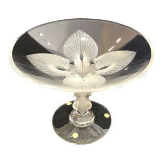 Lalique Crystal Glass Compote With Birds, Peacocks For Sale