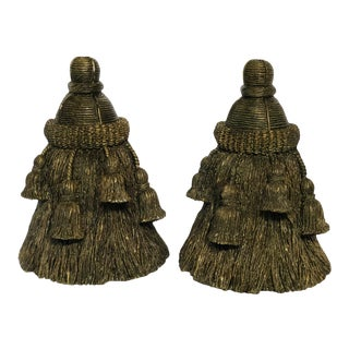 1980's Vintage Large Tassel Bookends - A Pair For Sale