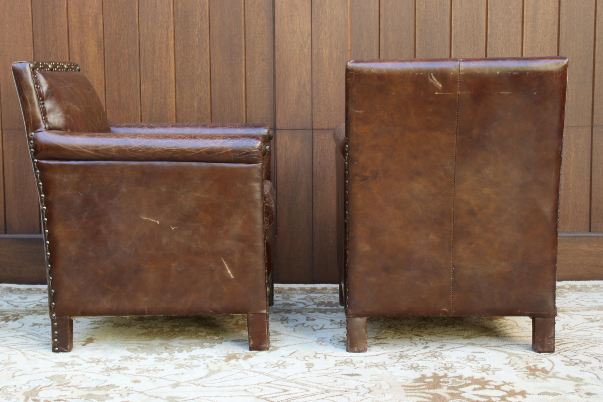 Halo Asia Ltd. Distressed Leather Armchairs   A Pair   Image 3 Of 13