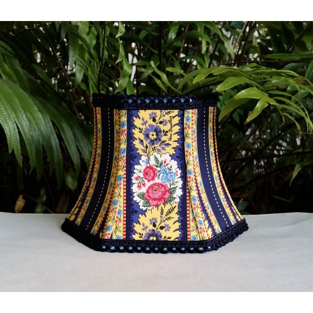 Metal Vera Bradley Fabric Lampshade Hex Bell For Sale - Image 7 of 11