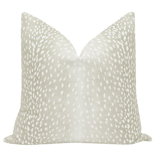 Pair of beautiful custom-made Antelope Linen Print pillows in Cashmere. Meticulously handcrafted with serged interior...
