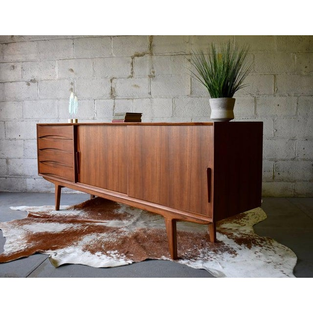 2010s Extra Long Mid Century Modern Teak Sideboard / Credenza For Sale - Image 5 of 11