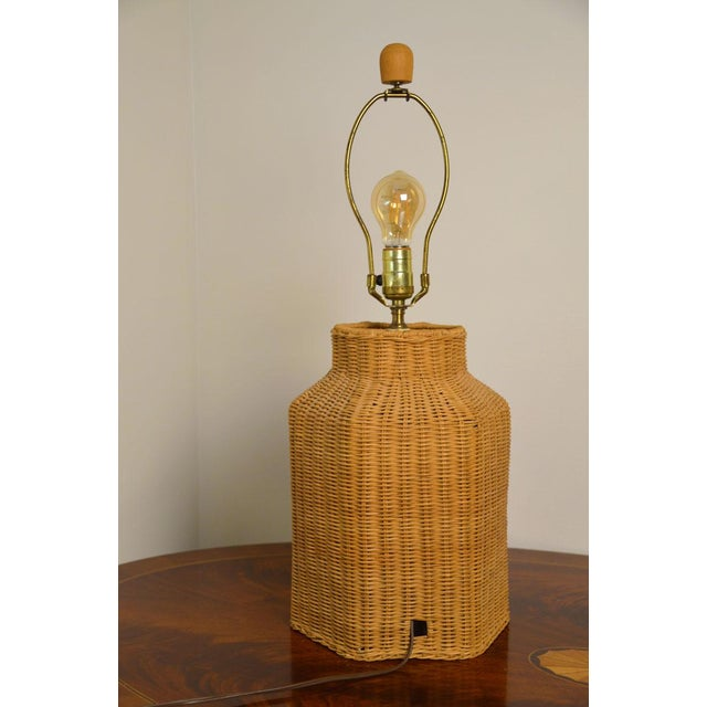 Vintage Wicker Lamp and Shade For Sale - Image 4 of 9
