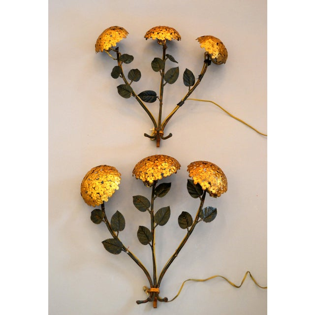 Pair of Florentine Brass and Iron Sconces For Sale - Image 11 of 12