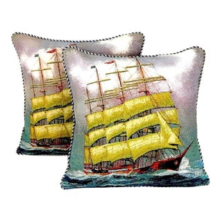 Vintage Woven Sailing Boat Pillow With Piping - a Pair For Sale