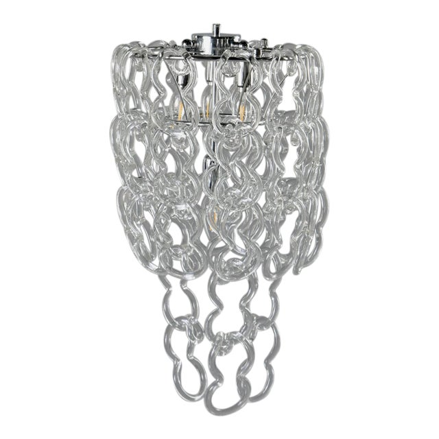 Mid-Century Giogali Glass Link Chandelier by Mangiarotti for Vistosi For Sale