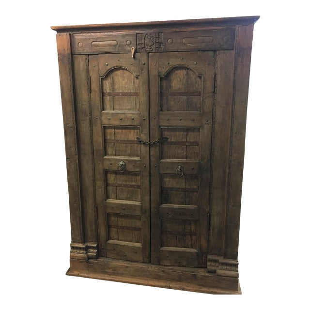Handmade Antique Wooden Armoire - Image 1 of 9