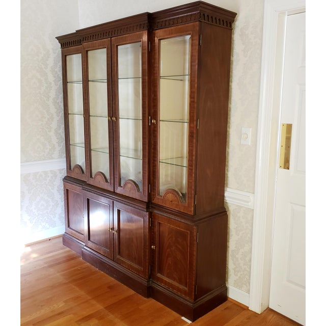 American Councill Craftsman Inlaid Banded Flame Mahogany China Cabinet For Sale - Image 3 of 12