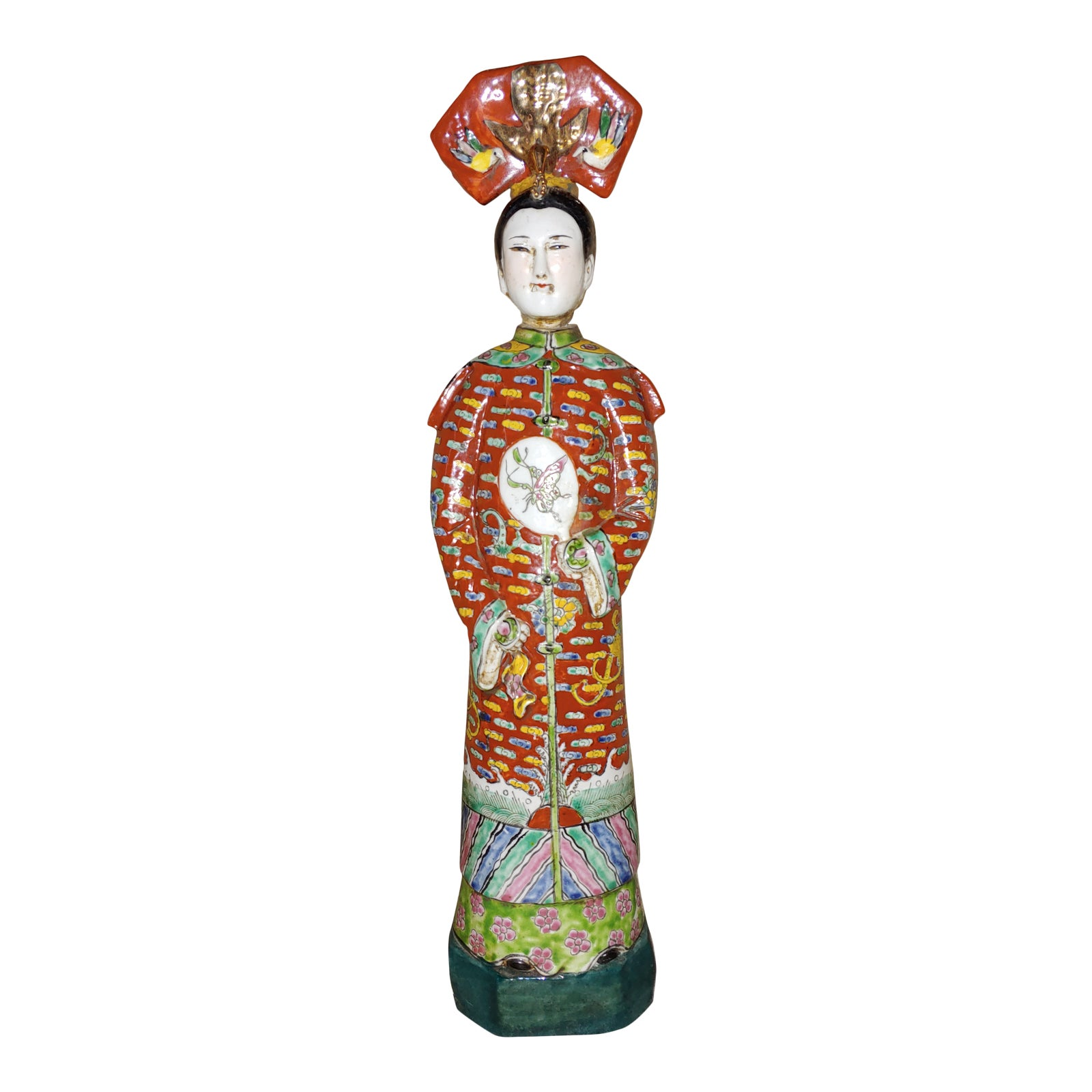 Chinese Famille Rose Porcelain Nodding Head Court Lady Figurine Chairish