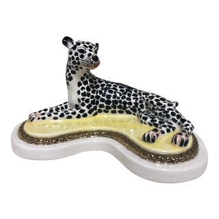 Late 20th Century Italian Ceramic Spotted Leopard For Sale