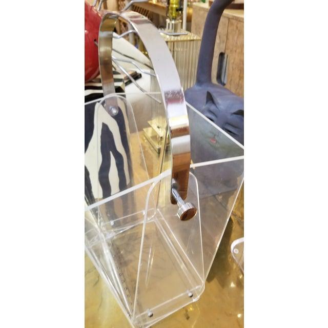 Transparent Oversized Lucite Magazine Holder / Waste Basket For Sale - Image 8 of 11