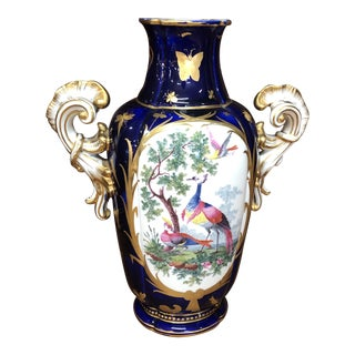 Fine English Porcelain Rococo Vase With Gilt Insects For Sale