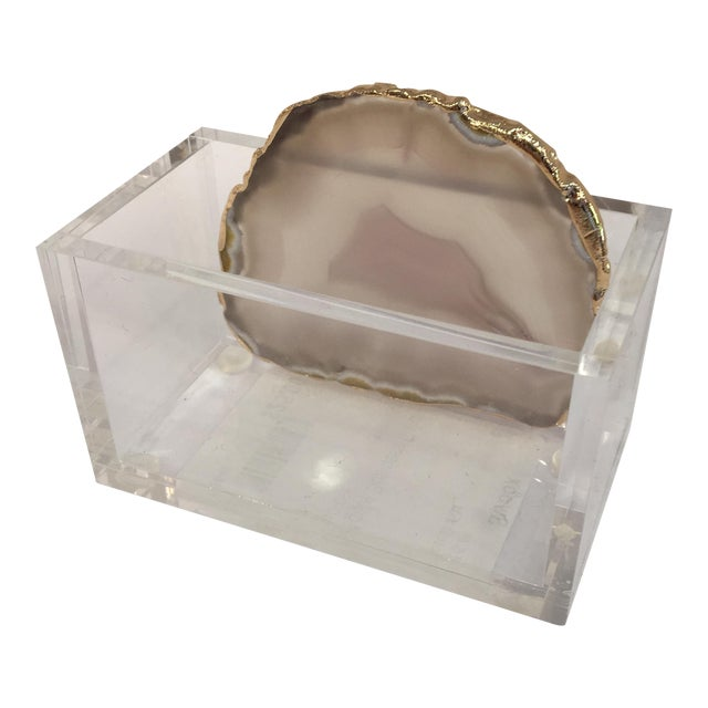 Lucite and Agate Business Card Holder - Image 1 of 10