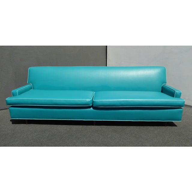 Mid-Century Turquoise Vinyl Sofa - Image 2 of 11