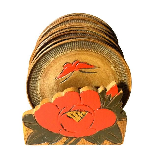 Folk Art Vintage Flower & Butterfly Wooden Coaster Set - Set of 11 For Sale - Image 3 of 3