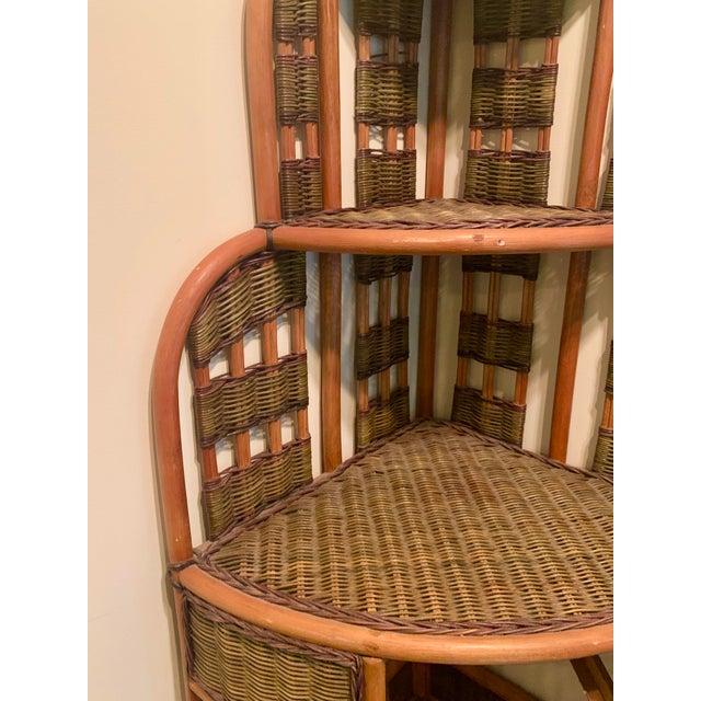 Wood Vintage Rattan Corner Cabinet For Sale - Image 7 of 11