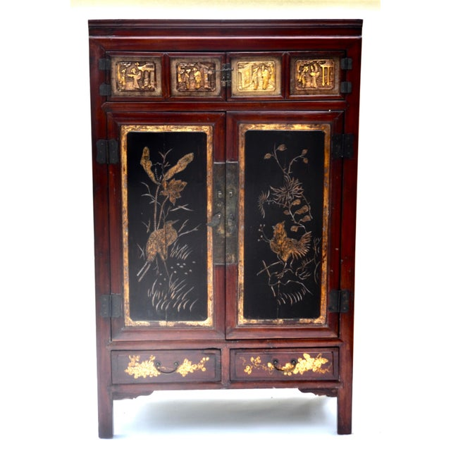 Red Exquisite Antique Chinese Qing Dynasty Cabinet For Sale - Image 8 of 12