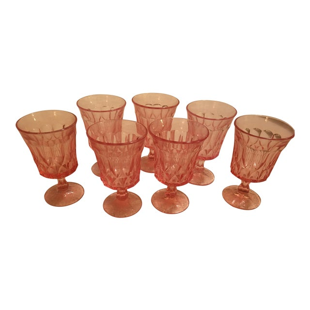 Pink Vintage Glass Goblets - Set of 7 - Image 1 of 4