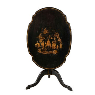 Antique Swedish Chinoiserie Decorated Tripod Tilt Top Table For Sale