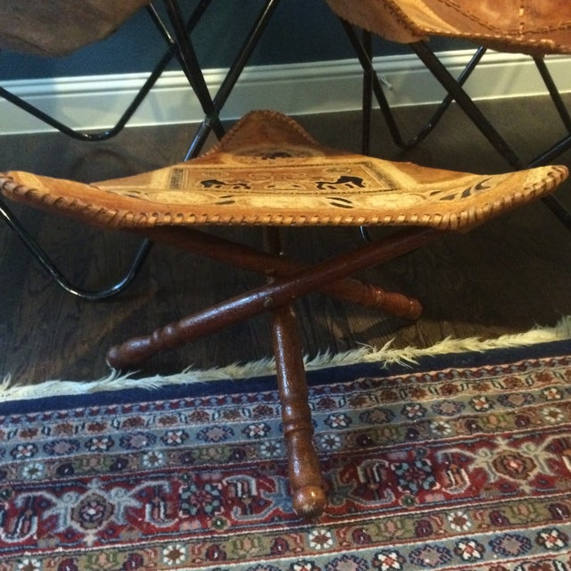 Vintage Leather Butterfly Chairs & Ottoman - Set of 3 - Image 10 of 10