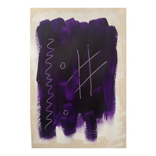Dark Purple Abstract Modern Painting on Paper For Sale