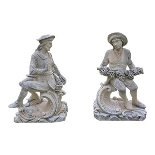 Pair of Seated Stone Figures For Sale