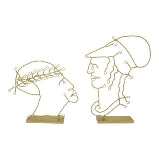 Roman Emperor & Soldier Gold Wire Sculptures, a Pair For Sale
